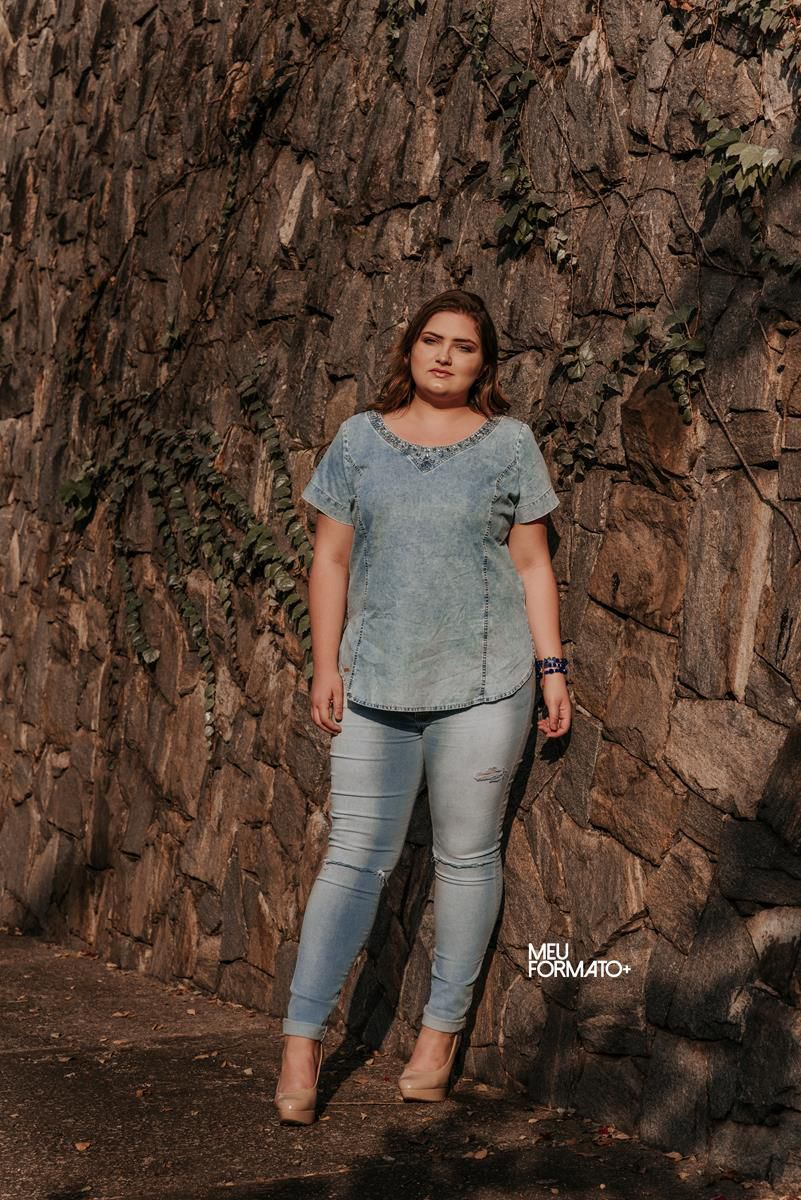 Calça Plus Size jeans skinny clara
