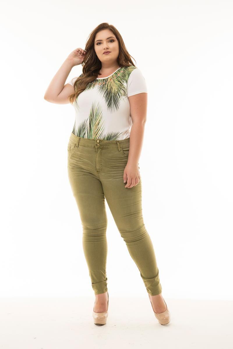 Calça Plus Size jeans verde brim