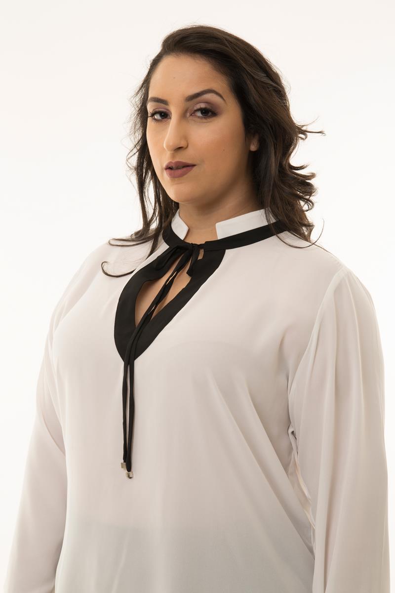 Camisa Plus Size bicolor laço