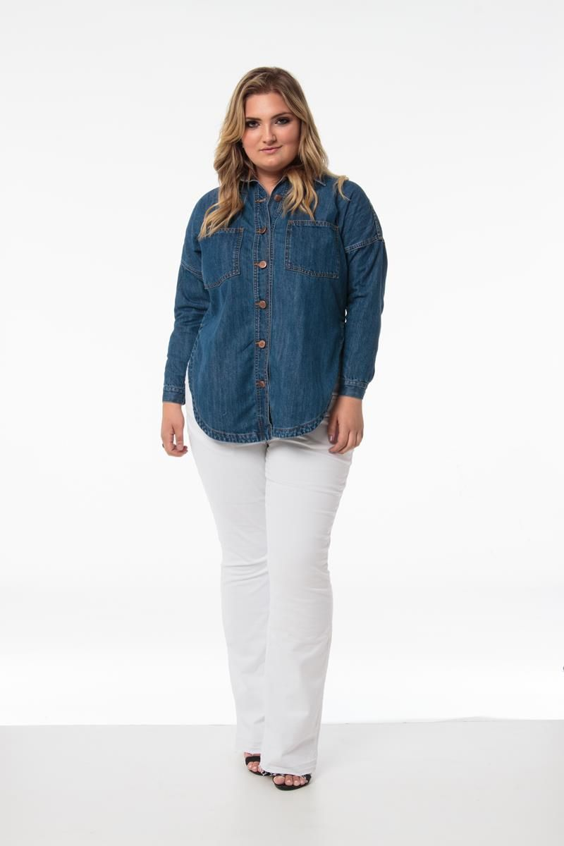 Camisa Plus Size jeans Beautiful