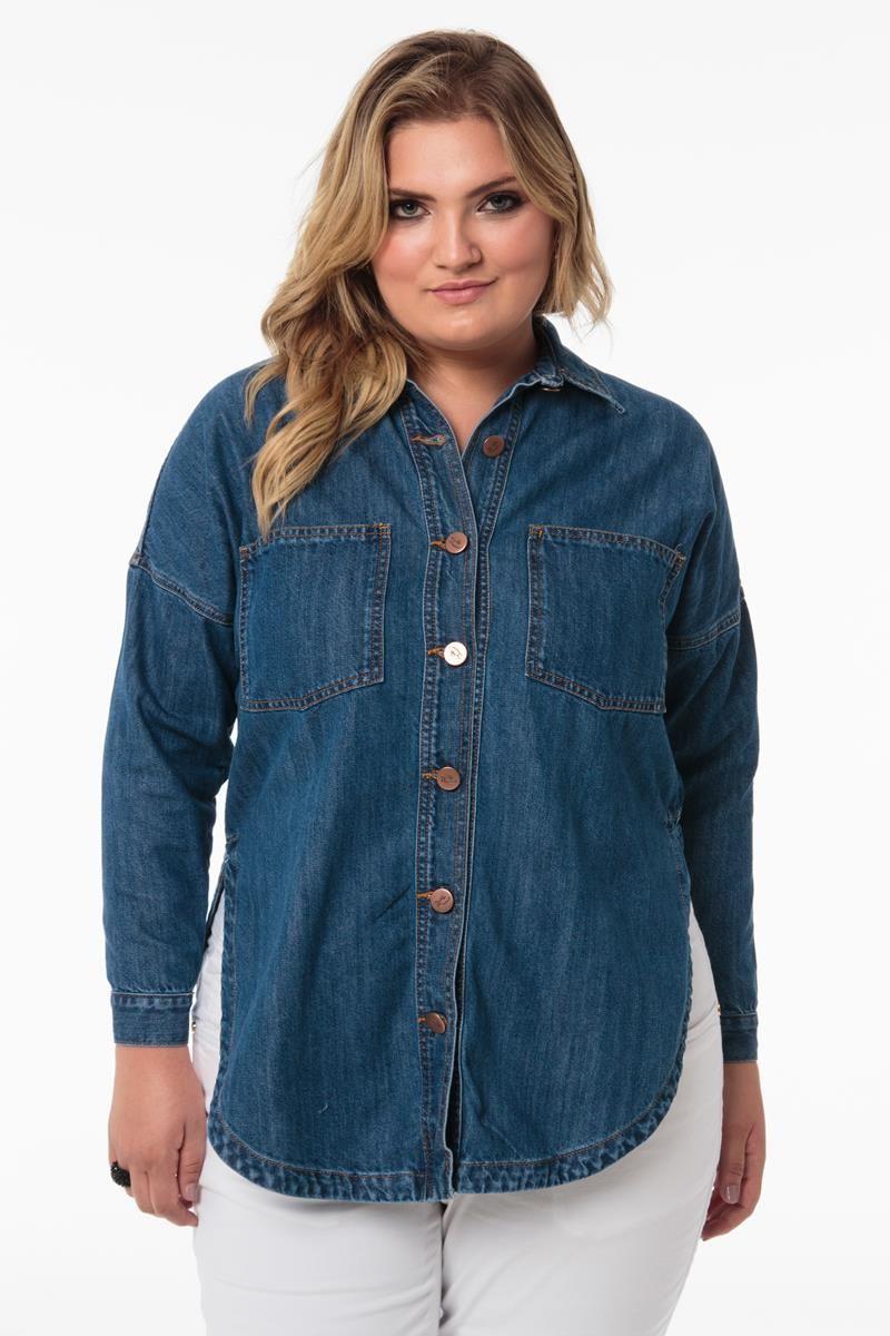 Camisa Plus Size jeans Beautiful