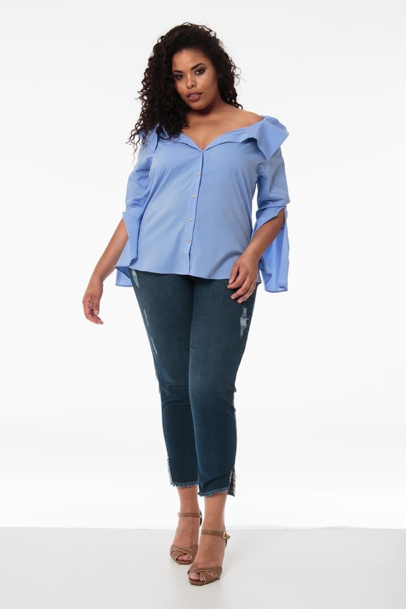 Camisa Plus Size Melissa azul