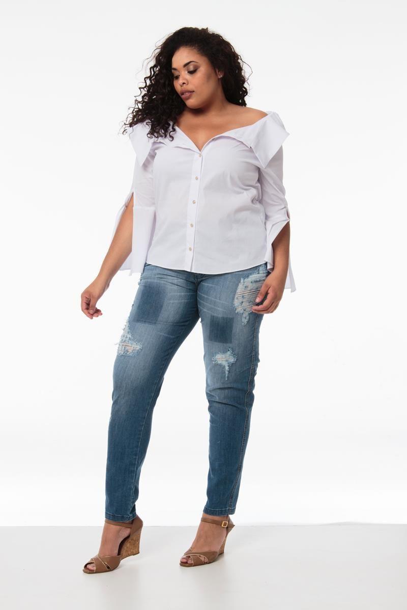 Camisa Plus Size Melissa branca