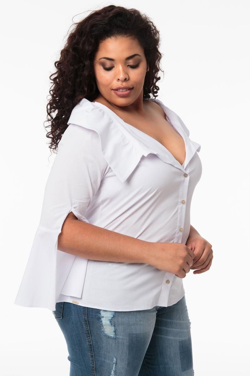 Camisa Plus Size social branca