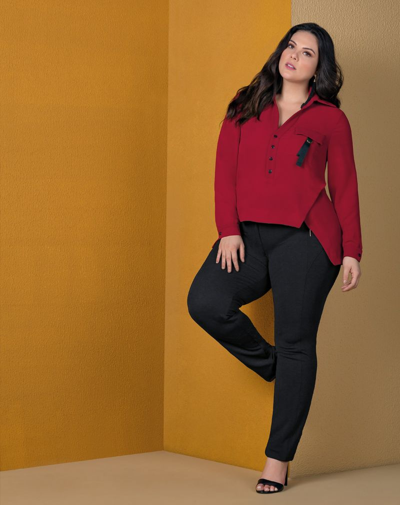 camisa plus size assimétrica