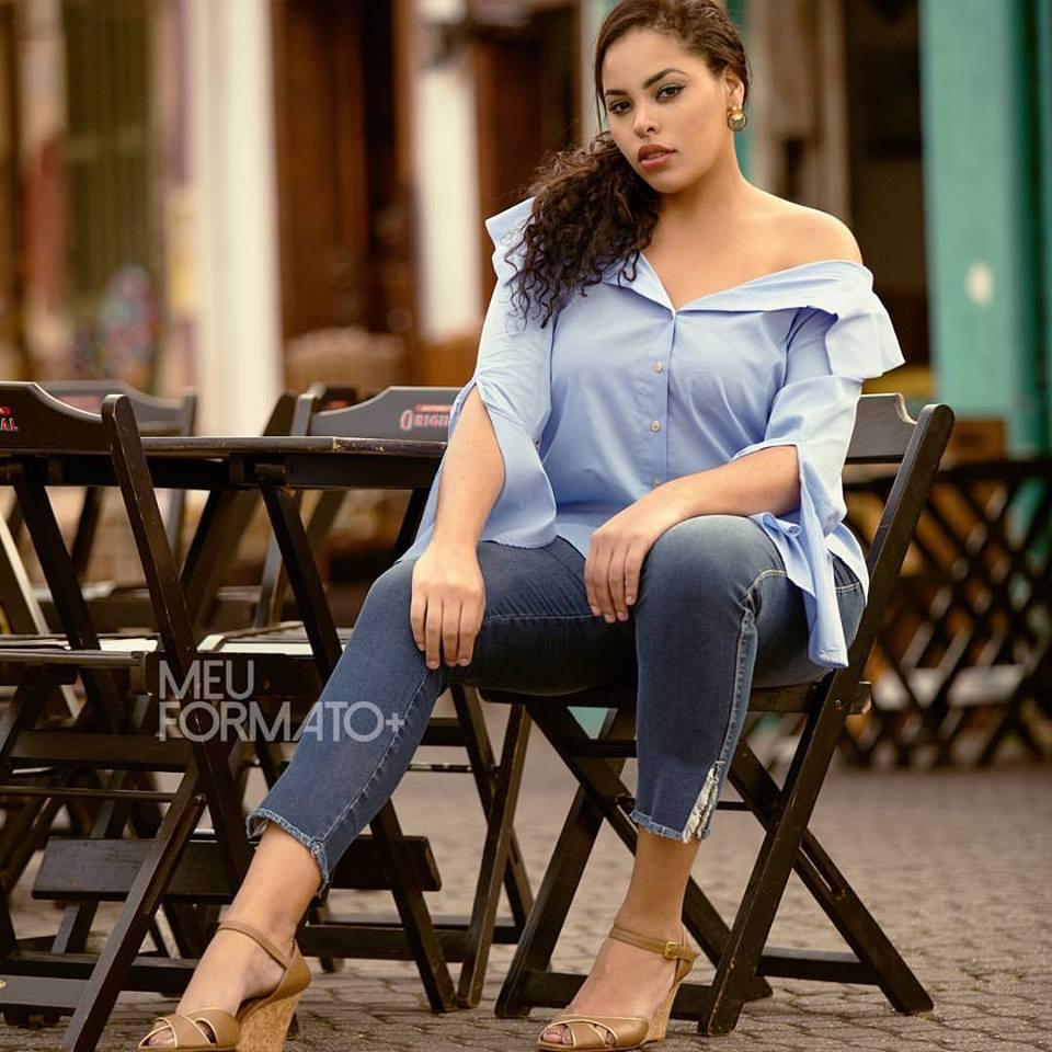 Camisa Plus Size social azul