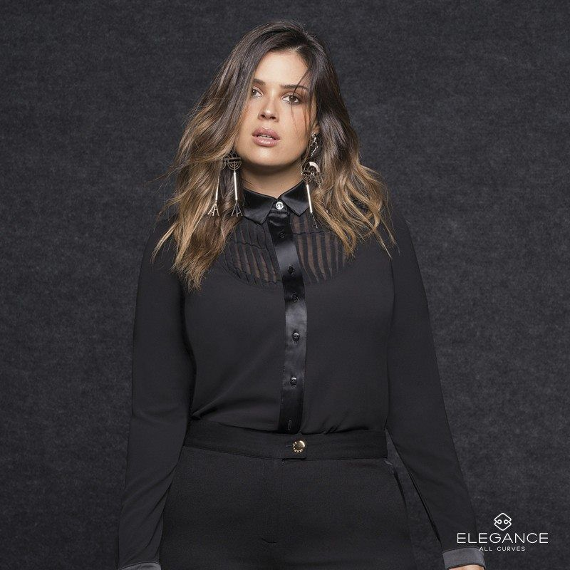 Camisa Smoking Plus Size