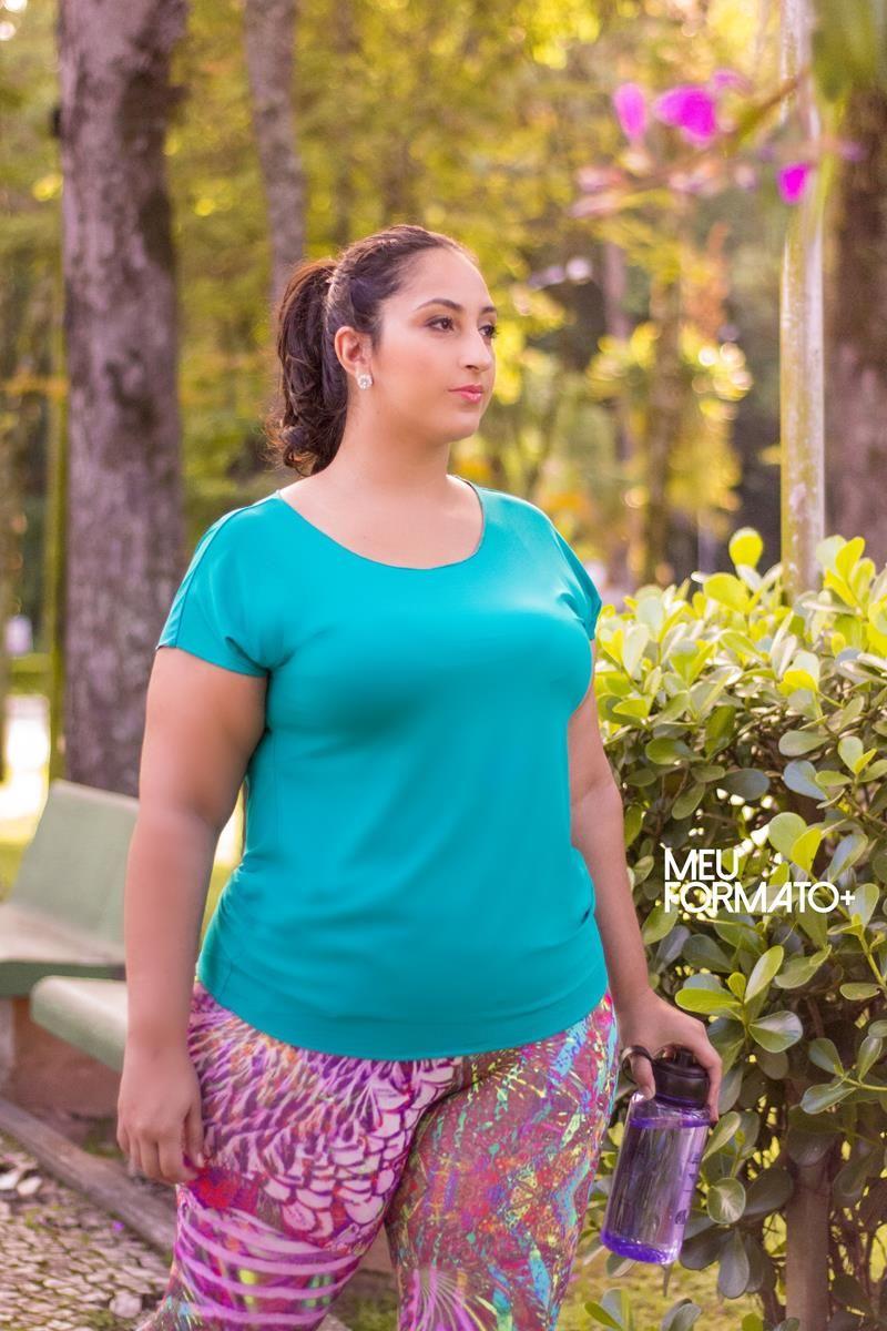 Camiseta Plus Size verde azulada