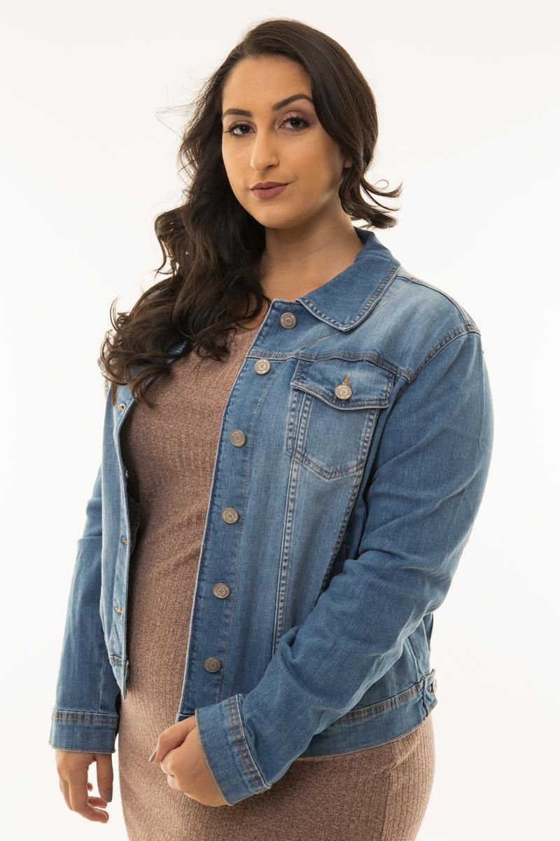 Jaqueta Plus Size jeans básica