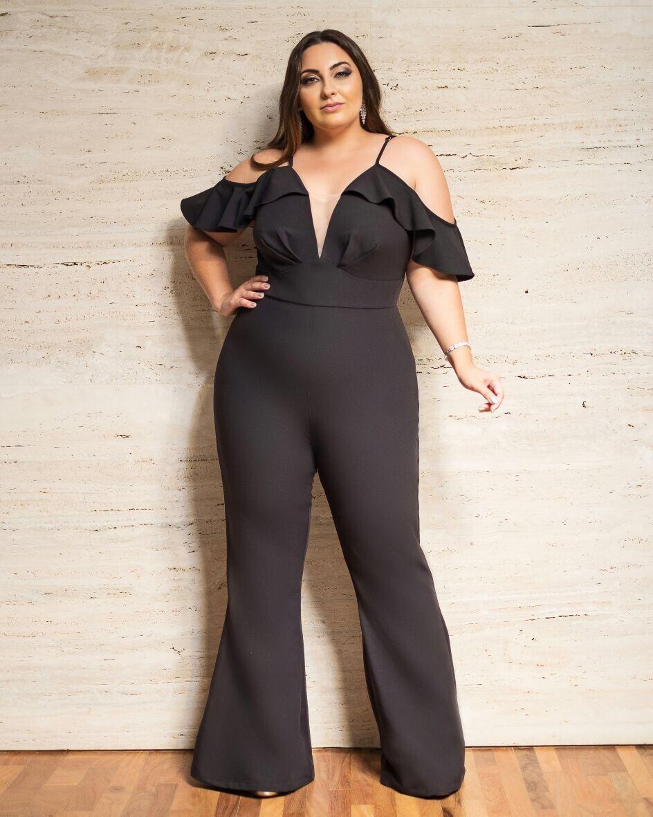 Macacão Plus Size Luisa preto