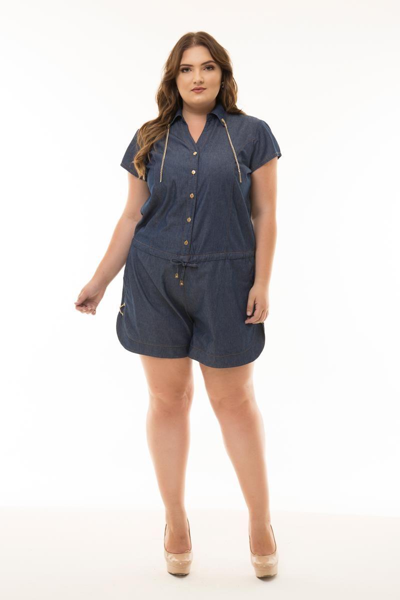 Macaquinho Plus Size jeans corrente