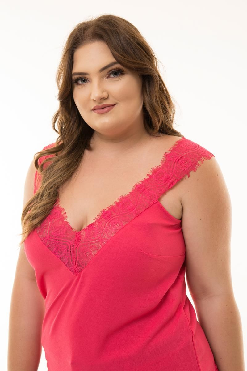 Regata Plus Size pink renda