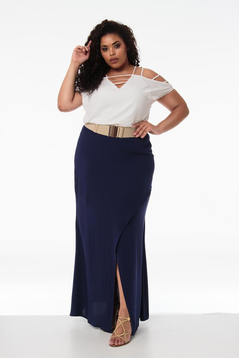 Saia Plus Size fenda lateral