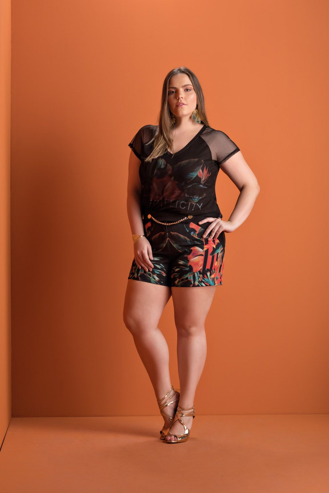 Shorts Plus Size Estampado Floral