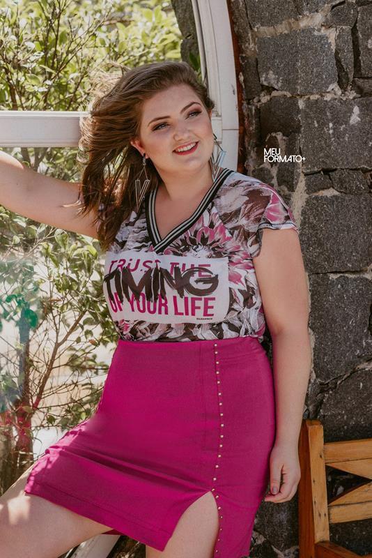 T-shirt Plus size rosa