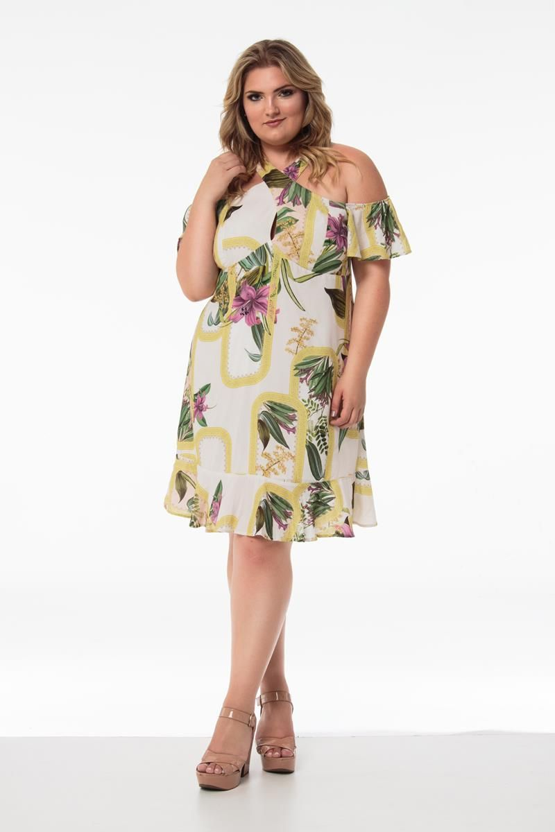 Vestido Plus Size floral off white