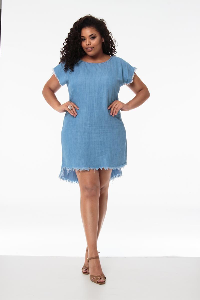 Vestido Plus Size desfiado assimétrico