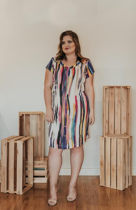 vestido estampado listra vertical