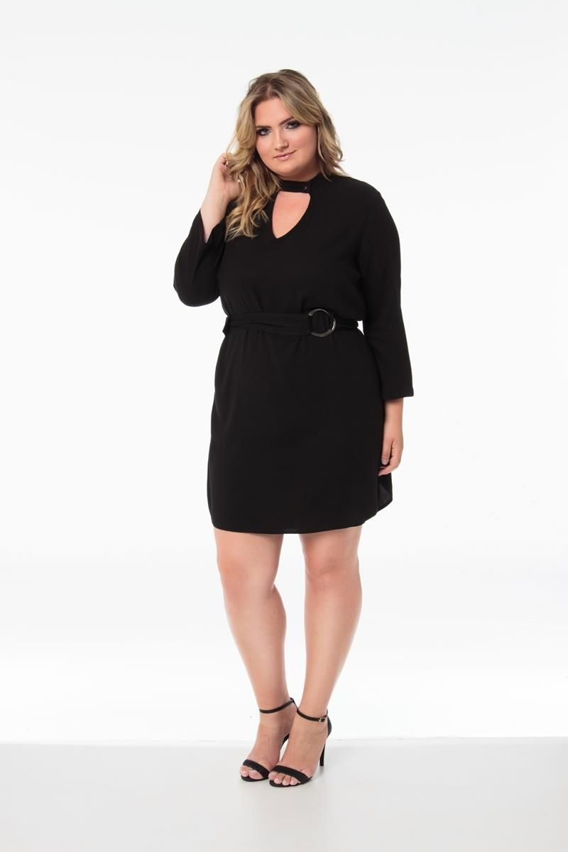 Vestido Plus Size chemsier preto