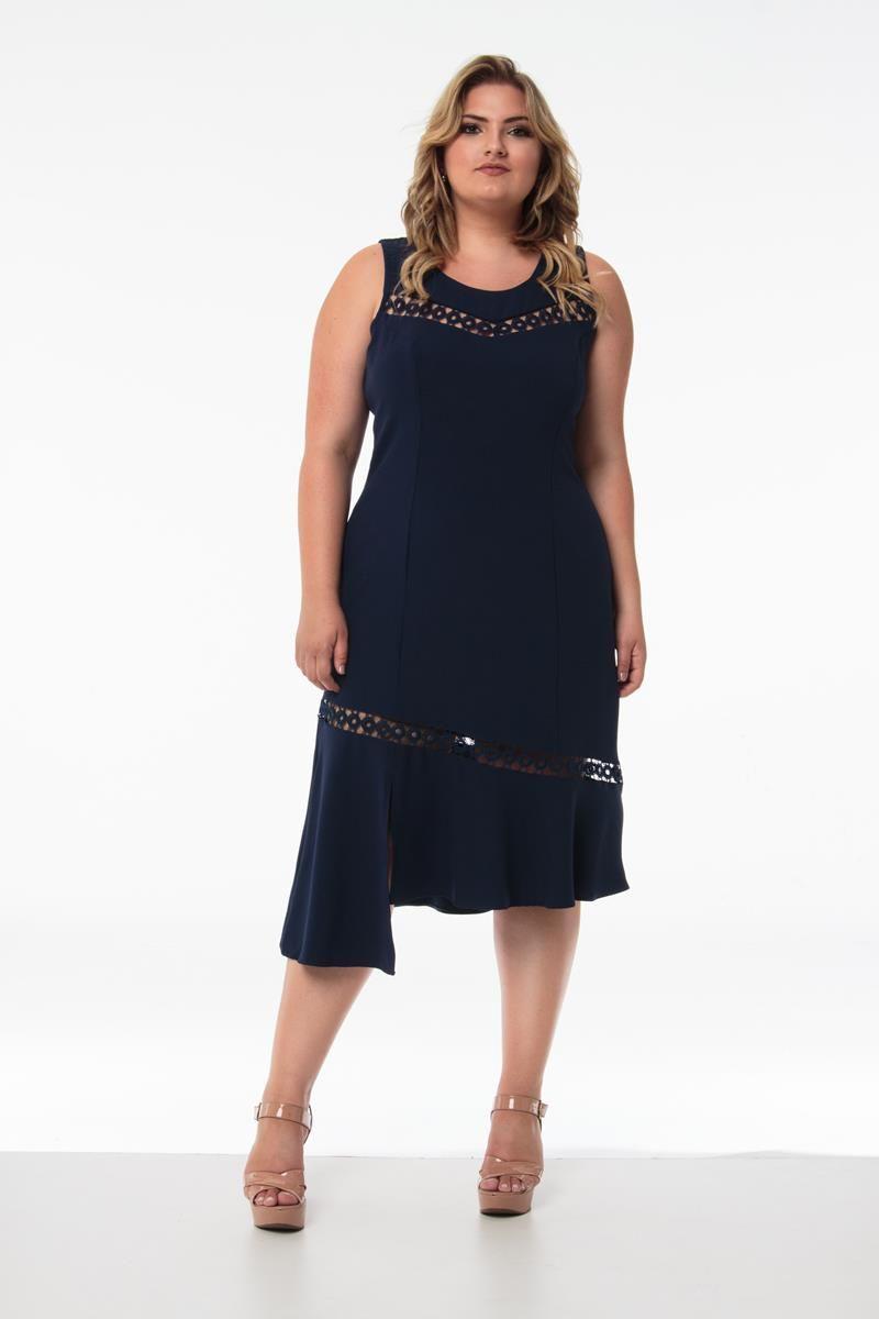 Vestido plus size midi assimétrico