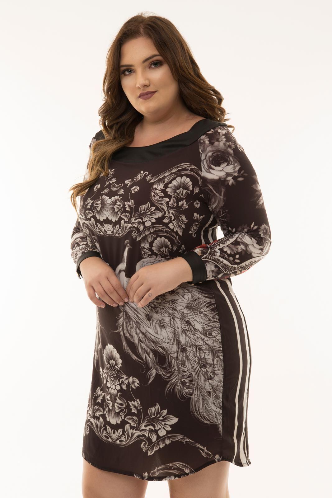 Vestido Plus Size chemise estampada