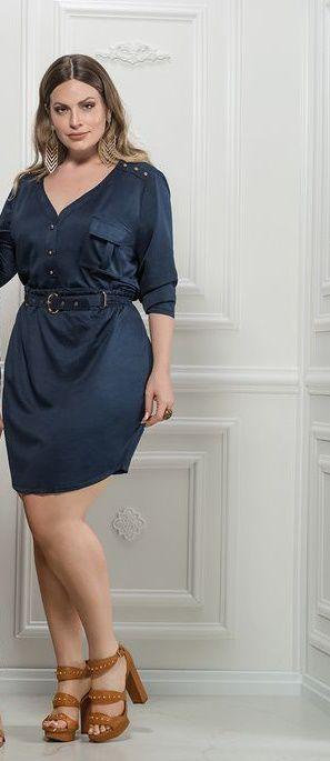 Vestido plus size com cinto