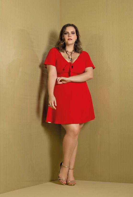 Vestido plus size gode vermelho