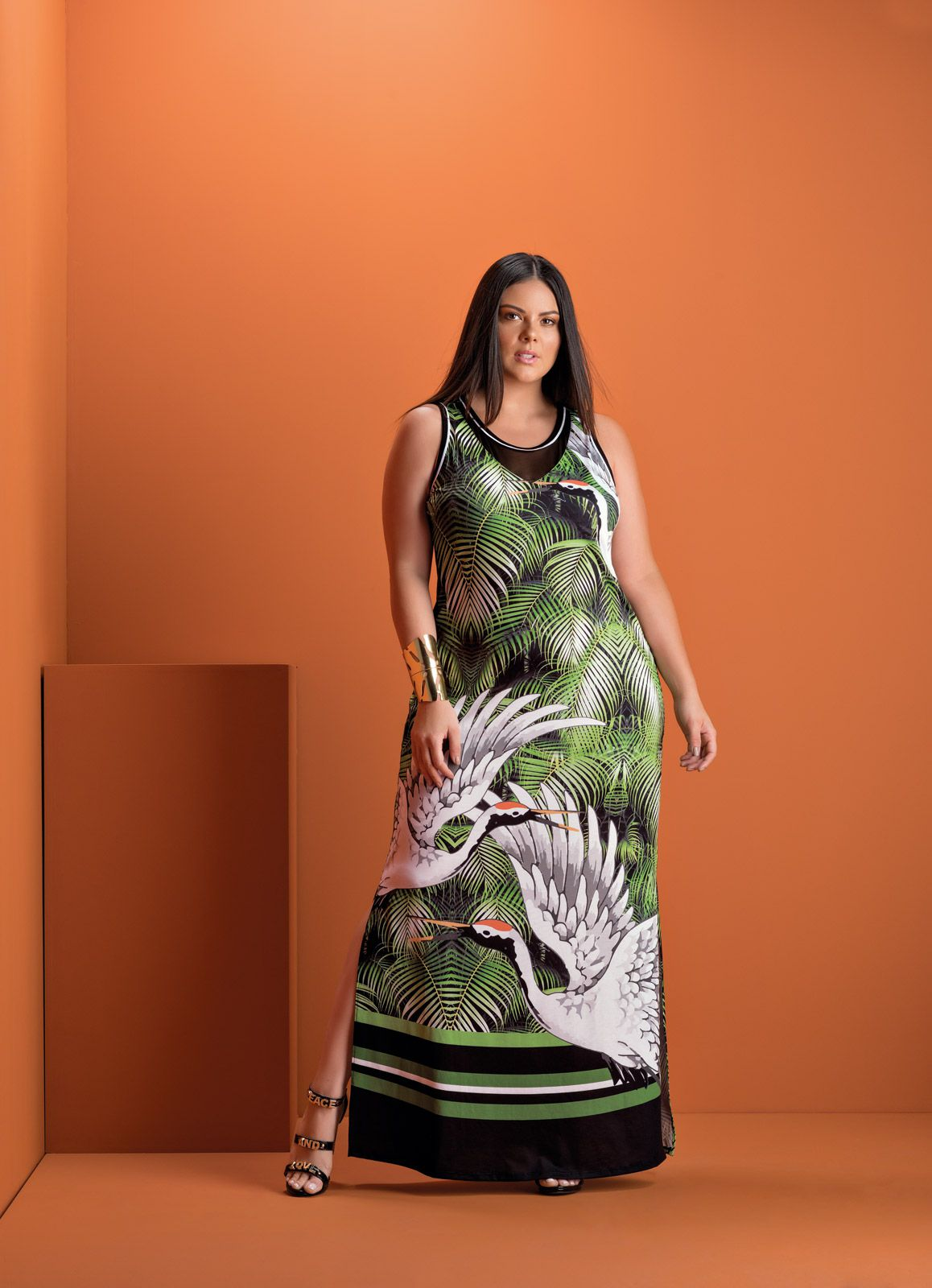 Vestido Plus Size Longo Palmeira