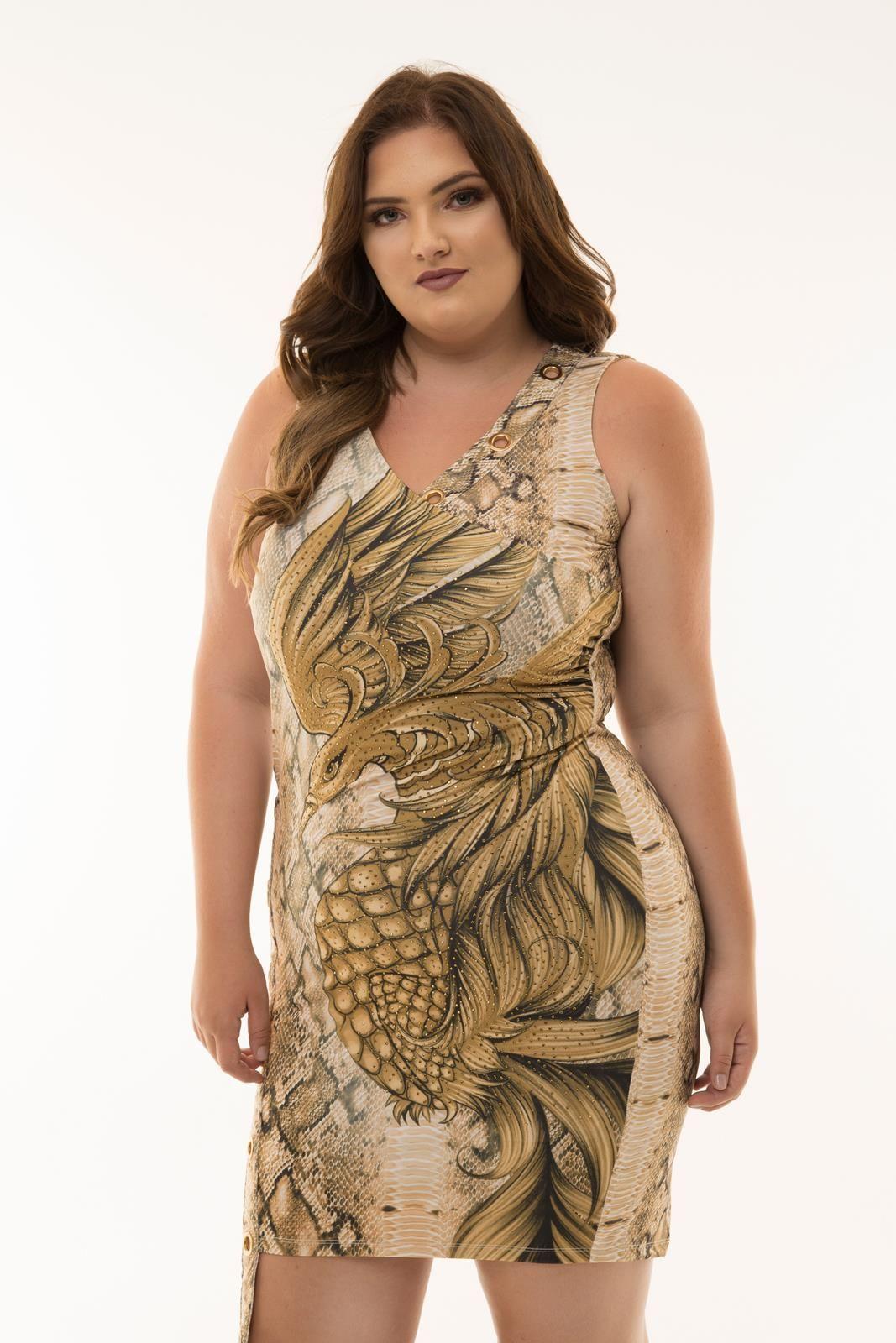Vestido Plus Size Raissa dourado