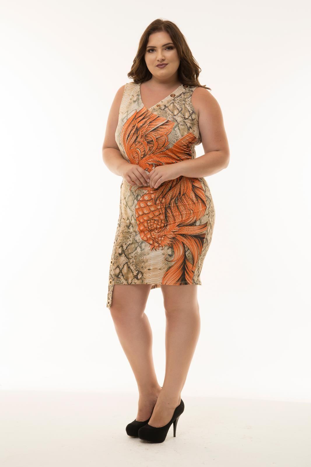Vestido Plus Size Raissa laranja