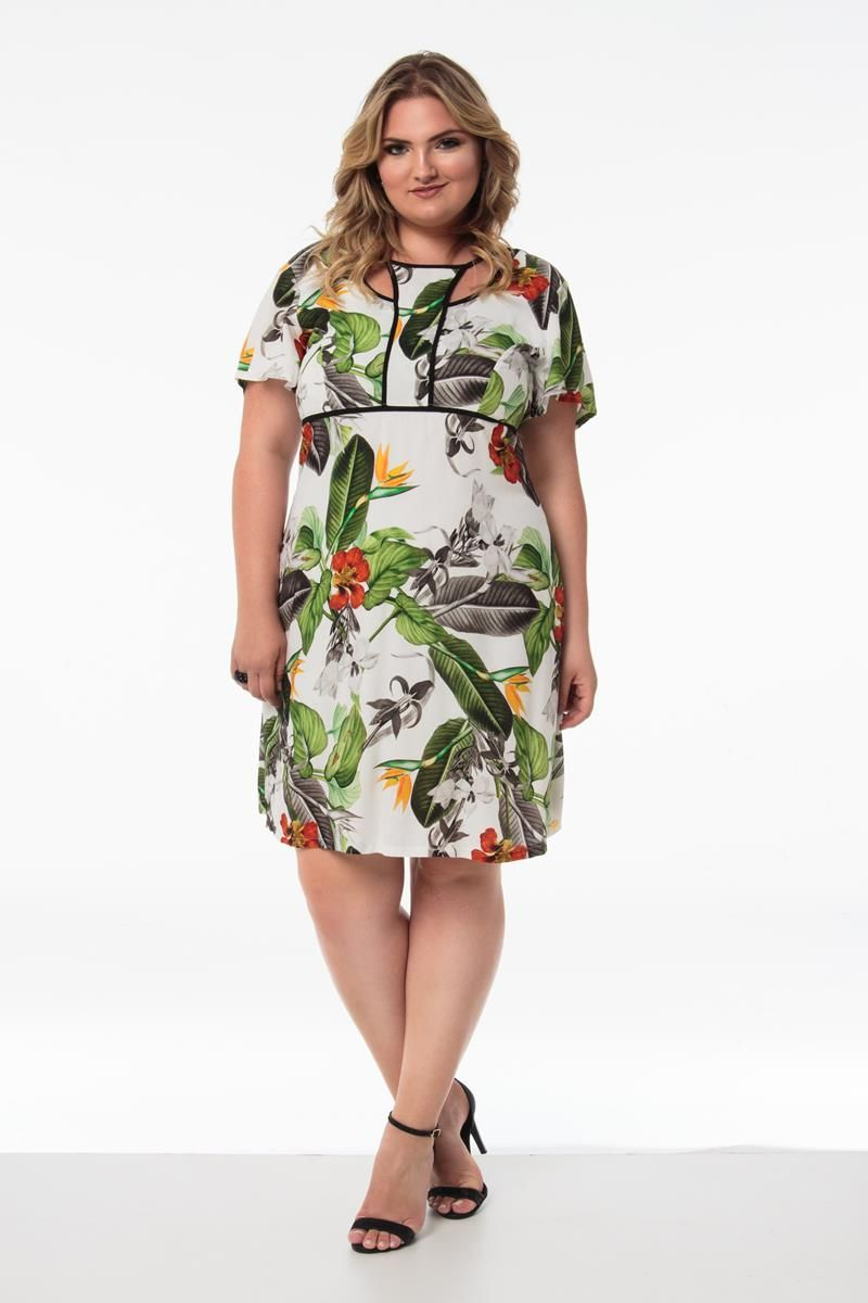 Vestido Plus Size Tropical
