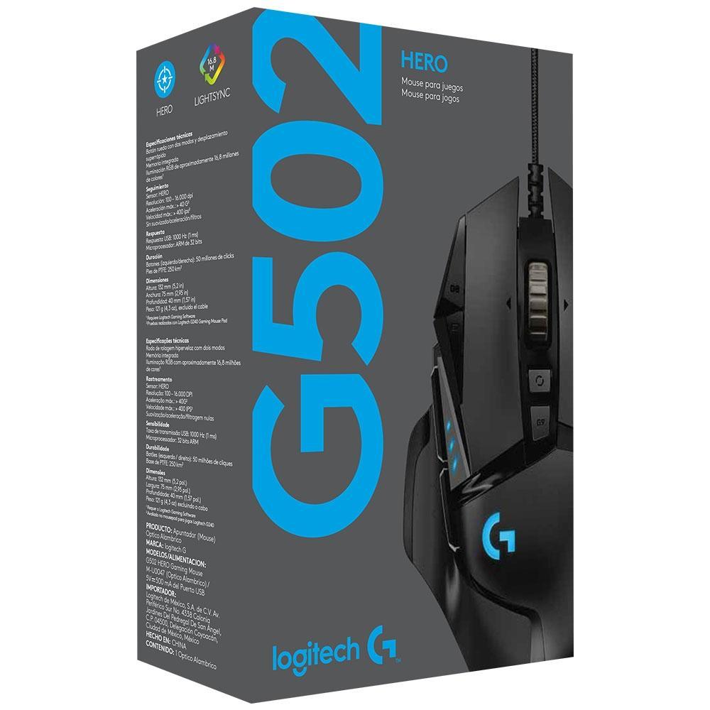 MOUSE GAMER LOGITECH G502 HERO 16K DPI USB 910-005550