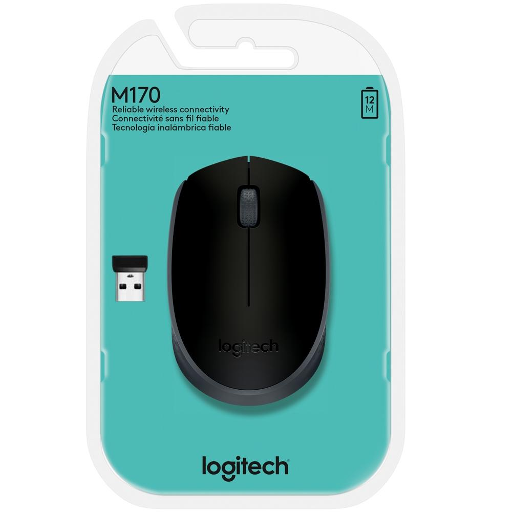 Mouse Logitech M170 Sem Fio Preto e Cinza - 910-004940