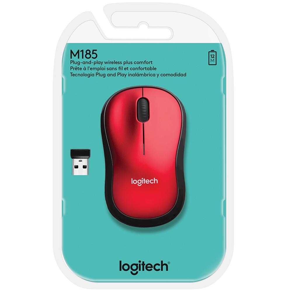 Mouse Logitech M185 Sem Fio Vermelho 910-003635