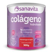Colágeno Hidrolisado Morango e Açaí - 300g - Sanavita