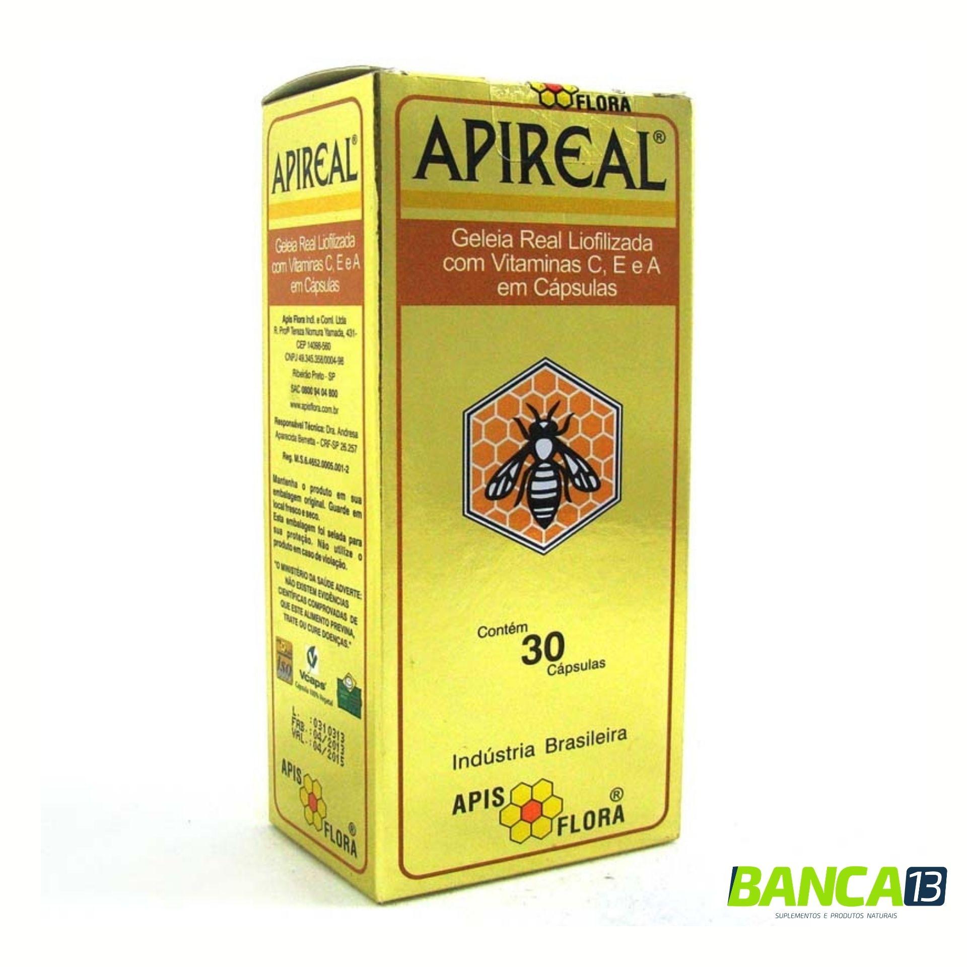 Apireal – Geleia Real Natural Liofilizada 30cps (Apis Flora)