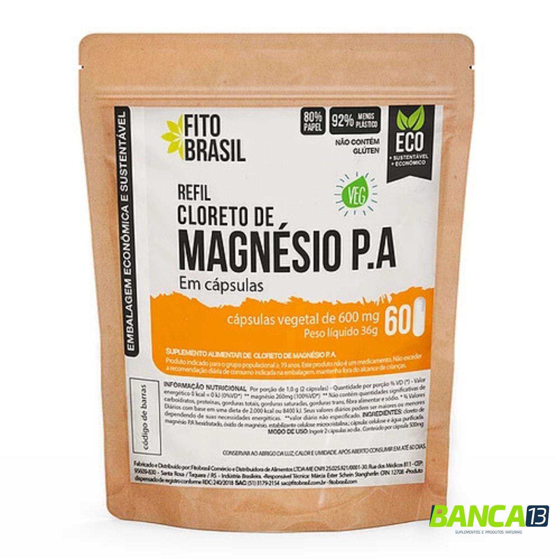 Cloreto de Magnésio P.A em Cápsulas 60 cáps de 600mg Fitobrasil EcoRefil