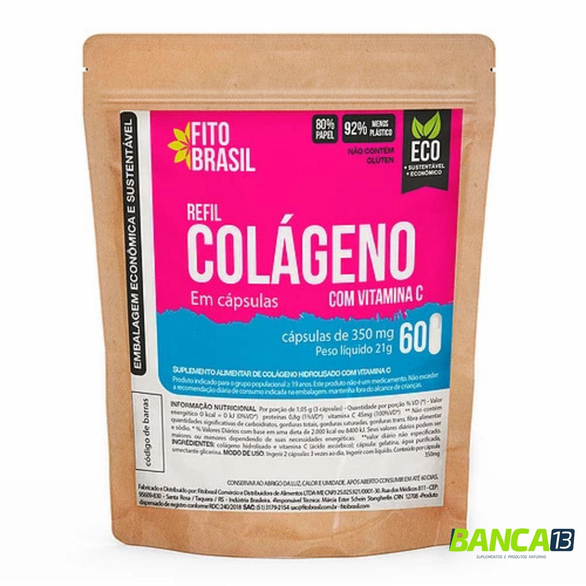 Colágeno em Cápsulas 60 cáps de 350mg Fitobrasil EcoRefil