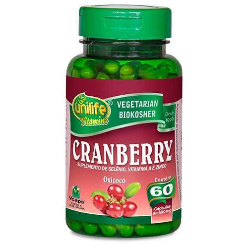 Cranberry - 60 cápsulas de 500mg - Unilife