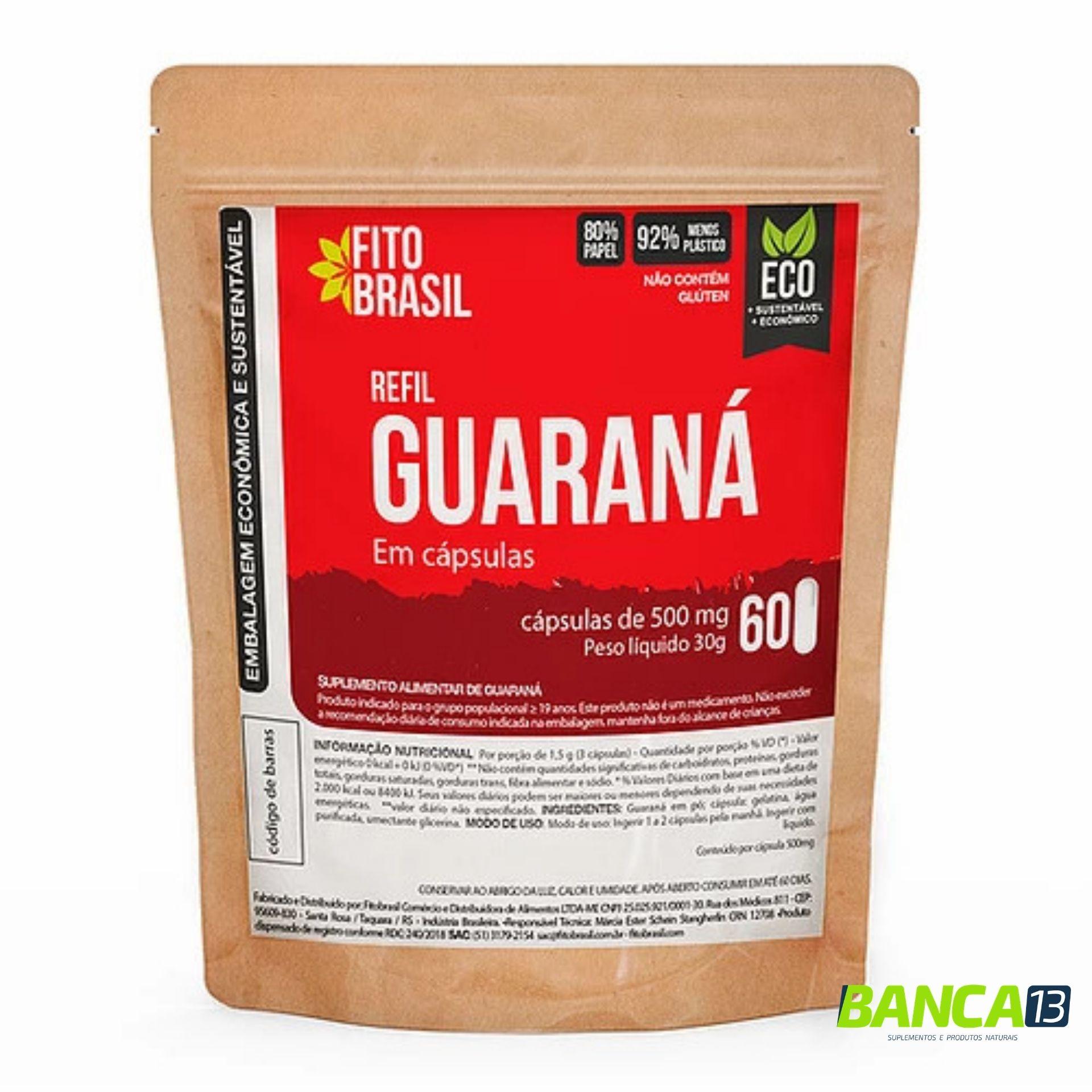 Guaraná 60 cápsulas de 500mg Fitobrasil EcoRefil