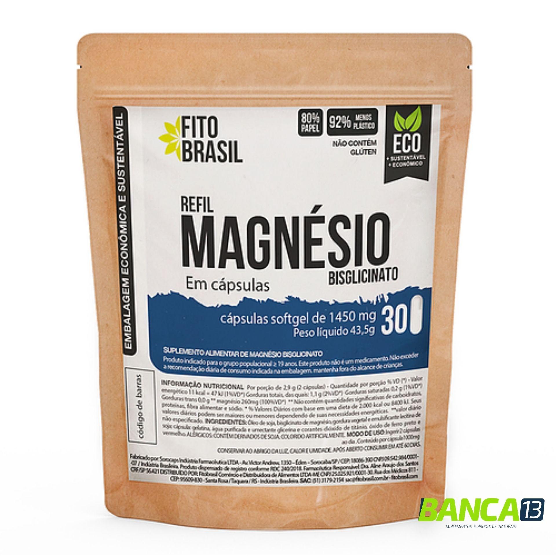 Magnésio em Cápsulas 30 cáps de 1450mg Fitobrasil EcoRefil