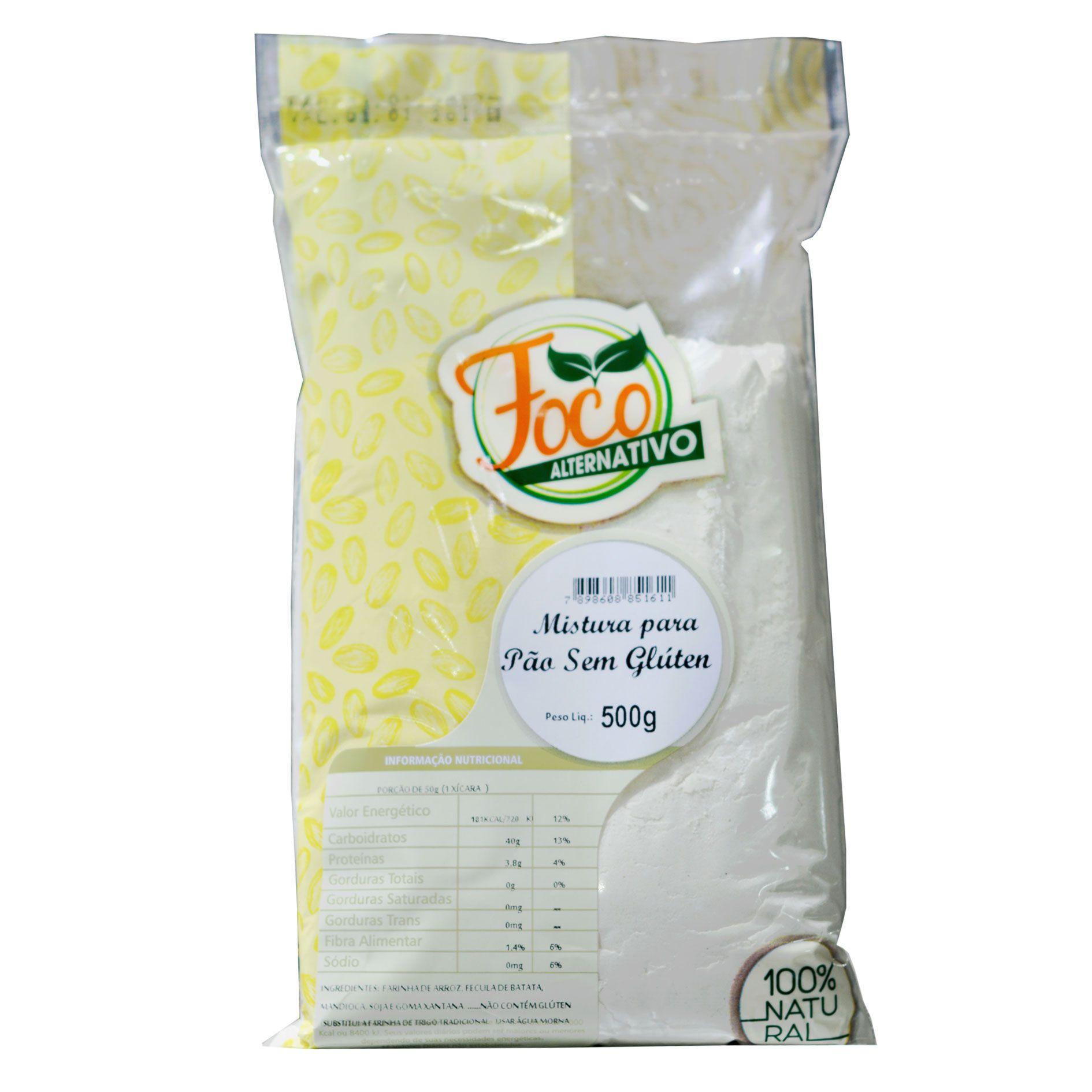 Mistura para Pão sem Glúten - 500g - Foco Alternativo