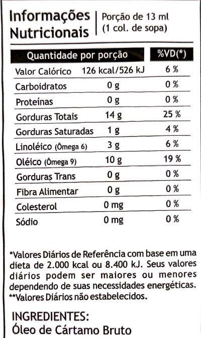 Óleo de Cártamo 250ml - Pazze