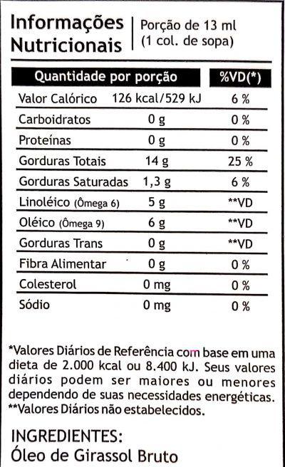 Óleo de Girassol 250ml - Pazze