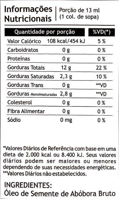 Óleo de Semente de Abóbora 250ml - Pazze