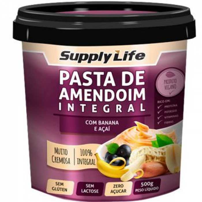 Pasta de Amendoim com Banana e Açaí - 500g - Supply Life
