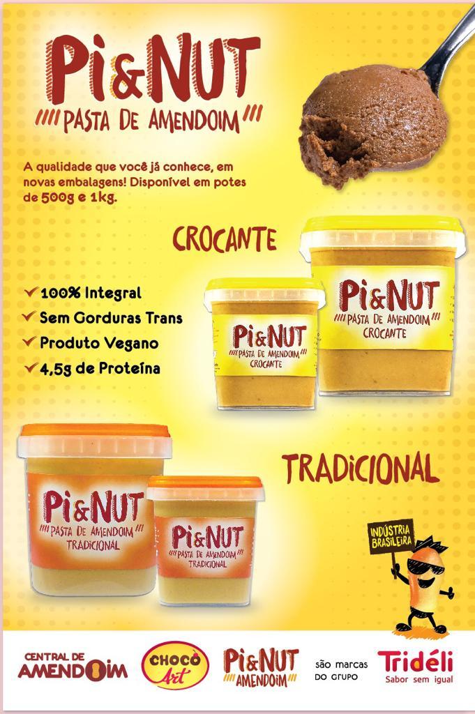 PASTA DE AMENDOIM CROCANTE 500g - PI & NUT