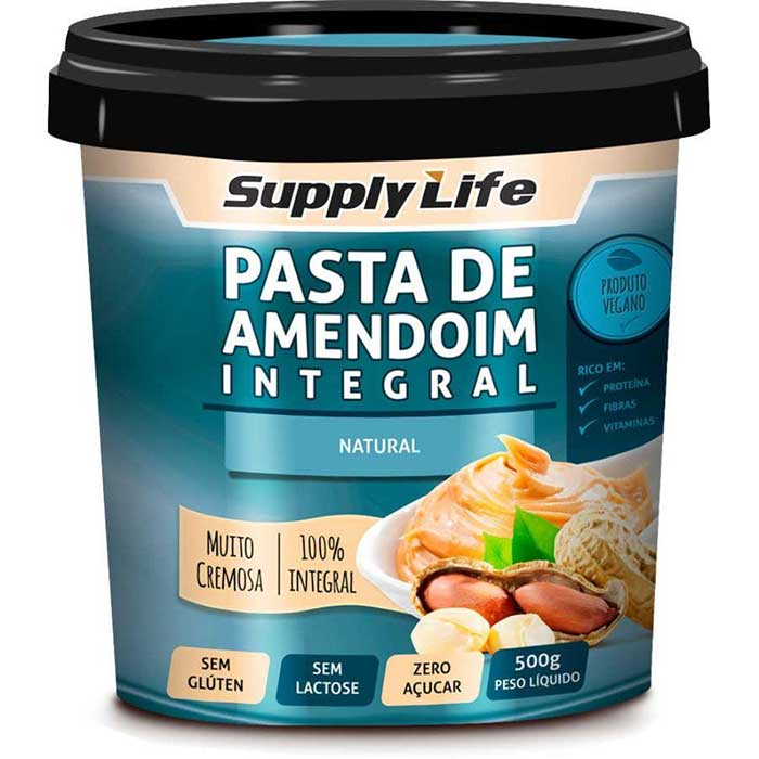 Pasta de Amendoim Natural 500g - Supply Life