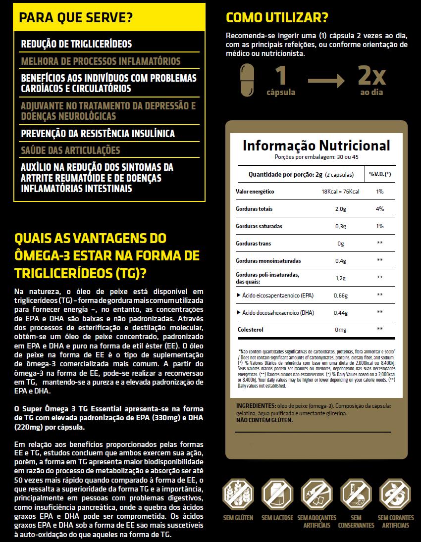 Super Ômega 3 TG Essential 60 cápsulas - Essencial Nutrition