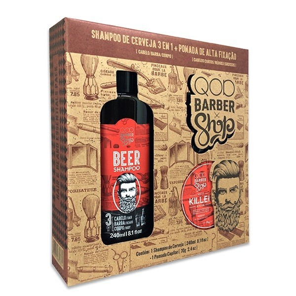 Kit Shampoo de Cerveja + Pomada Killer QOD Barber Shop